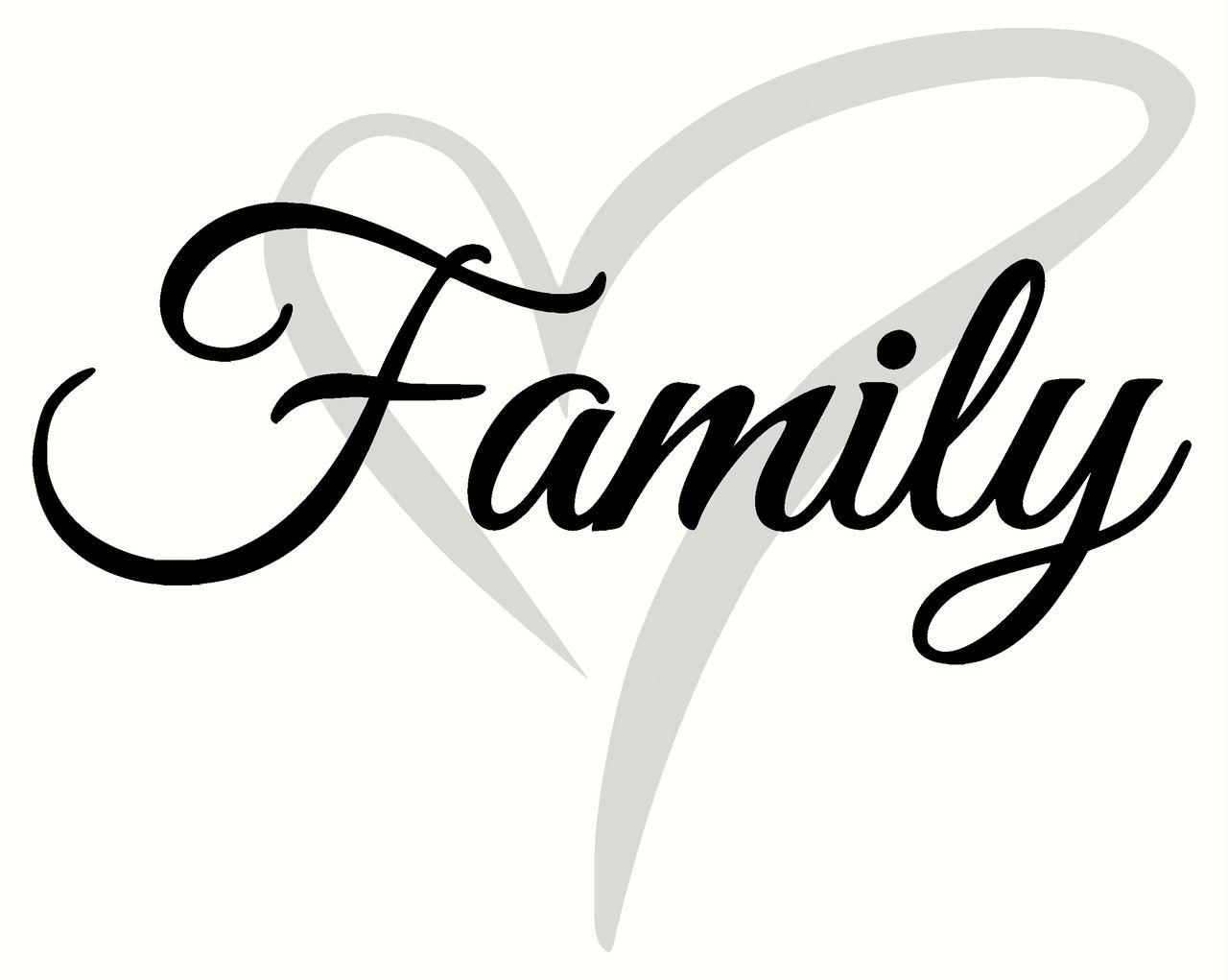 Cursive Family Wall Decal Lettering with Heart, 2-Color