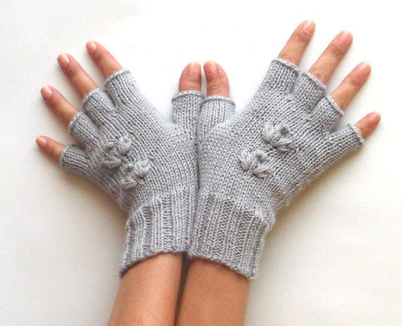 Gray Half Finger Gloves Fingerless Gloves Cherry Flower by ...