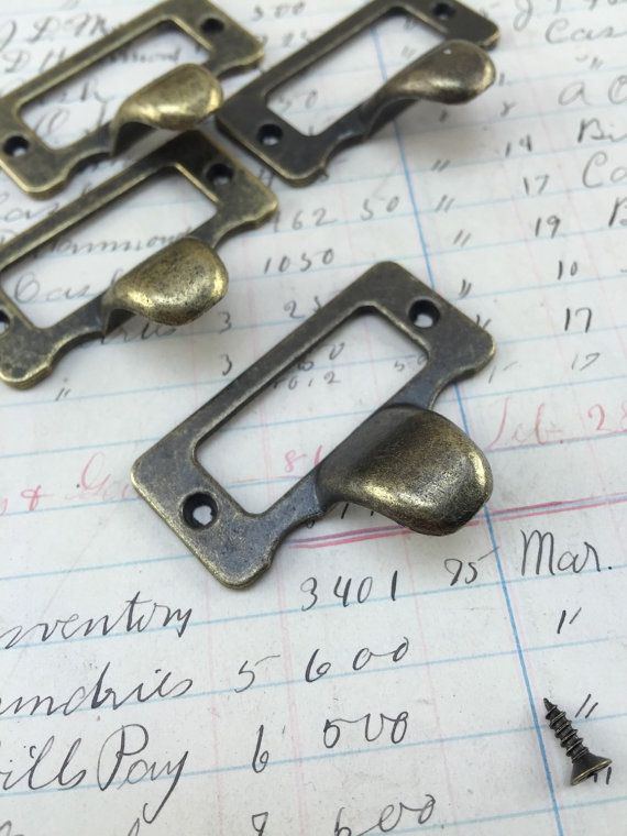 Vintage Look Brass Label Holders For Drawers Heavy Antique Brass