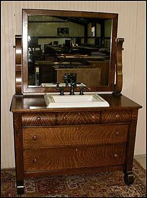Antique Bathroom Vanity: Empire Style American Antique Dresser With Kohler  Sink...Hmmm. Well There It Is. With A Sink.