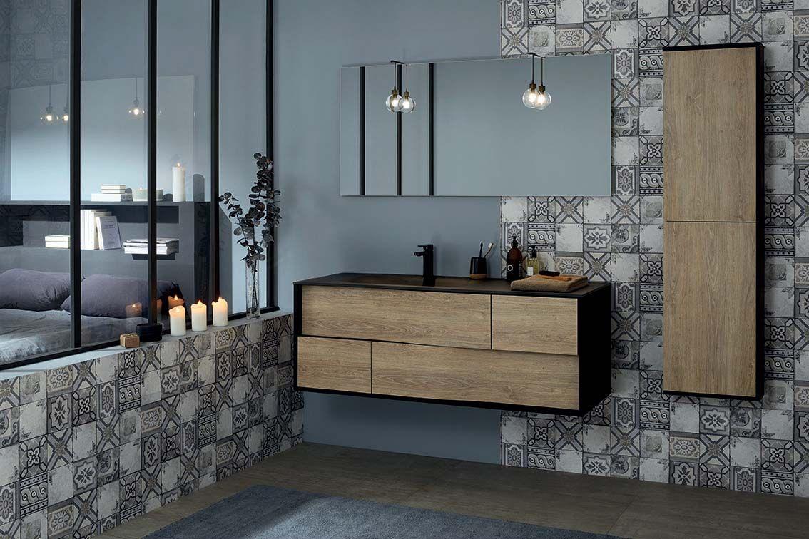 ca8421dc7d738 Une suite parentale tendance avec une salle de bain design ambiance  atelier. Le meuble avec