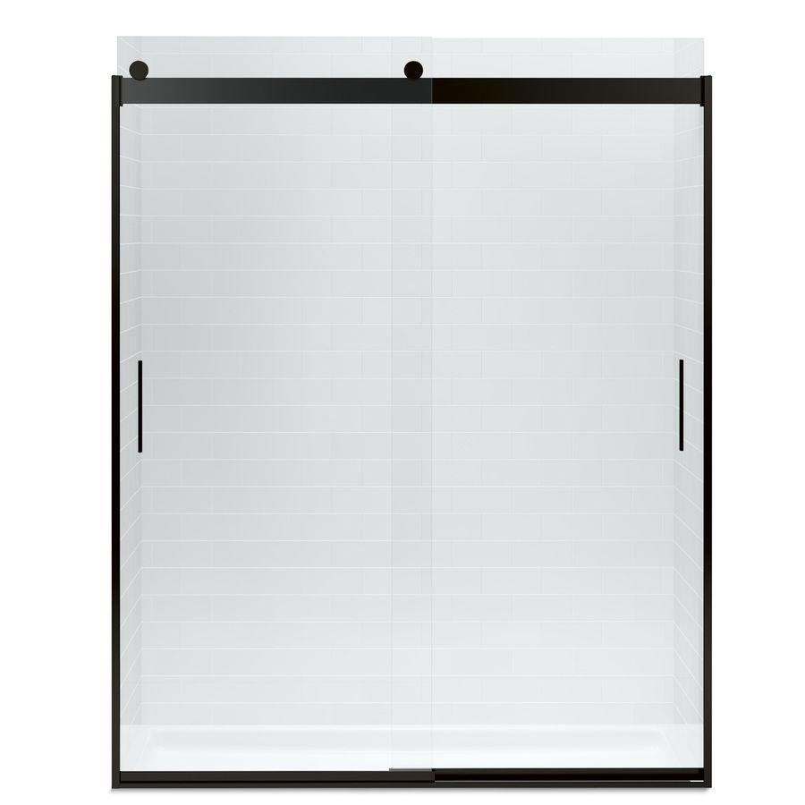 Black Framed Full Shower Door Kohler Levity 56 625 In To 59 625