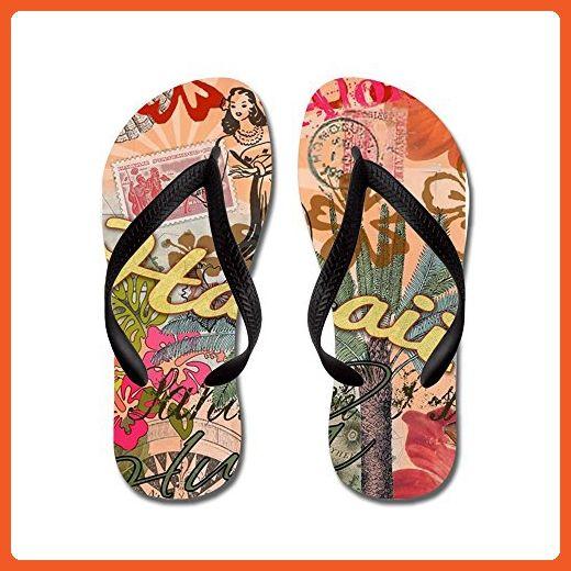 6ea3f4cd9daa CafePress - Vintage Hawaii Travel Colorful Hawaiian Tropical C - Flip Flops