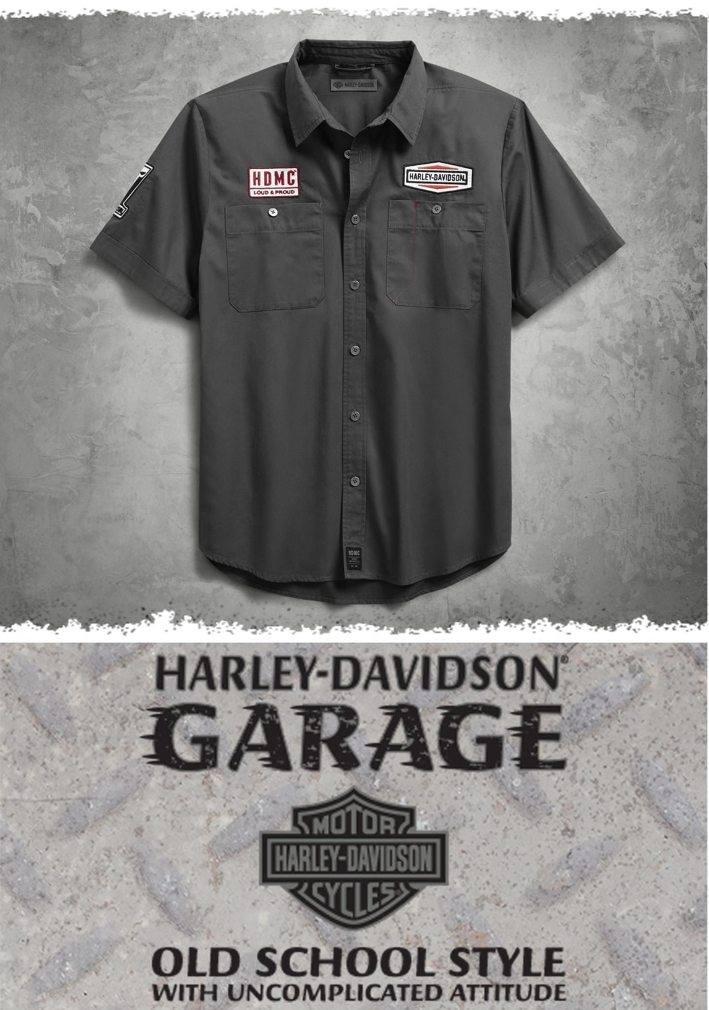 UESEU Personalized Harley Davidson Garage Short Sleeve Cotton Casual Polo Shirt T-Shirts for Man