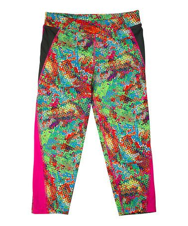 Another great find on #zulily! Hot Pink & Blue Dipping Dots Capri - Girls #zulilyfinds
