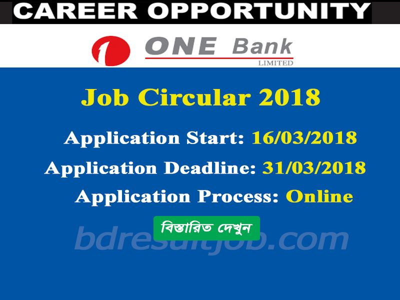 One Bank Limited Special Cadre Officers Job Circular 2018