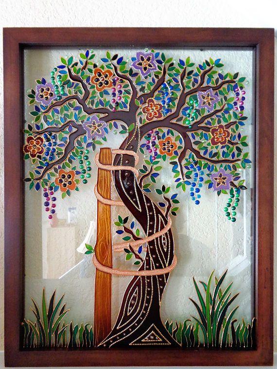 Árbol de Andry arte 15 x 12 de vidrio pintura