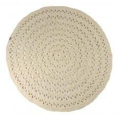Tapis rond crochet Ecru