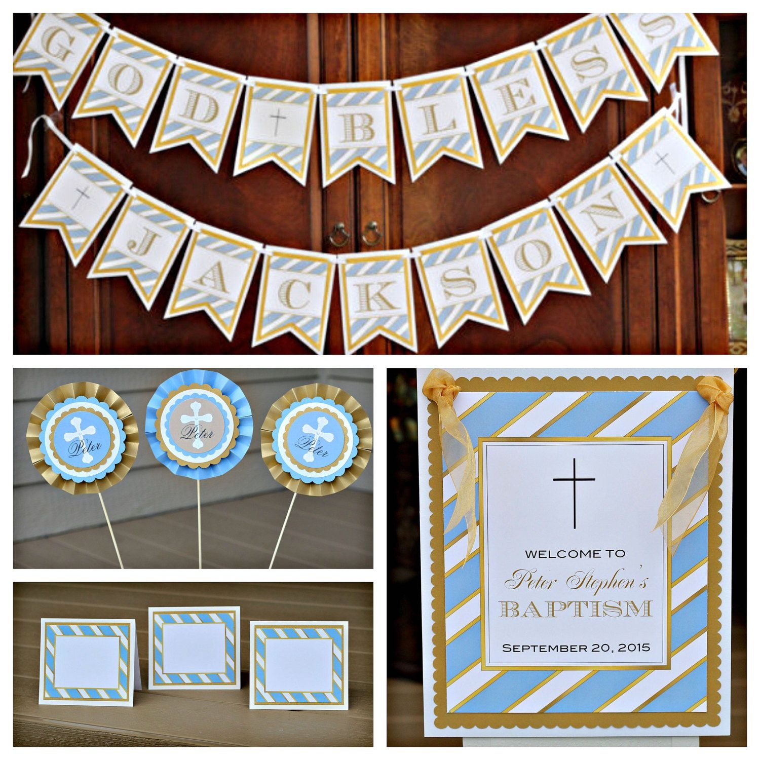 Baptism / First Communion / Christening Pary In A Box by Charming Touch Parties. Blue, gold and ivory stripe. Boutique 4 piece kit. by CharmingTouchParties on Etsy
