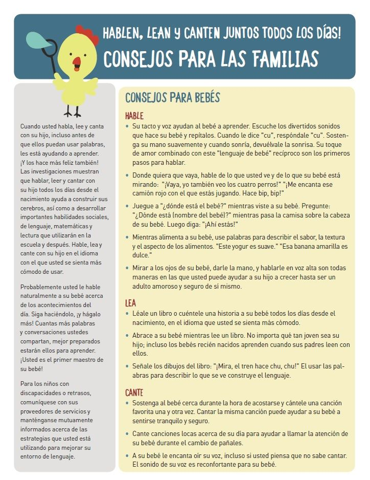 Spanish Tips For Parents On How To Talk Read And Sing To Their Kids Everyday For Infants And Toddlers Www Talkingisteaching Teaching Baby Learning Singing