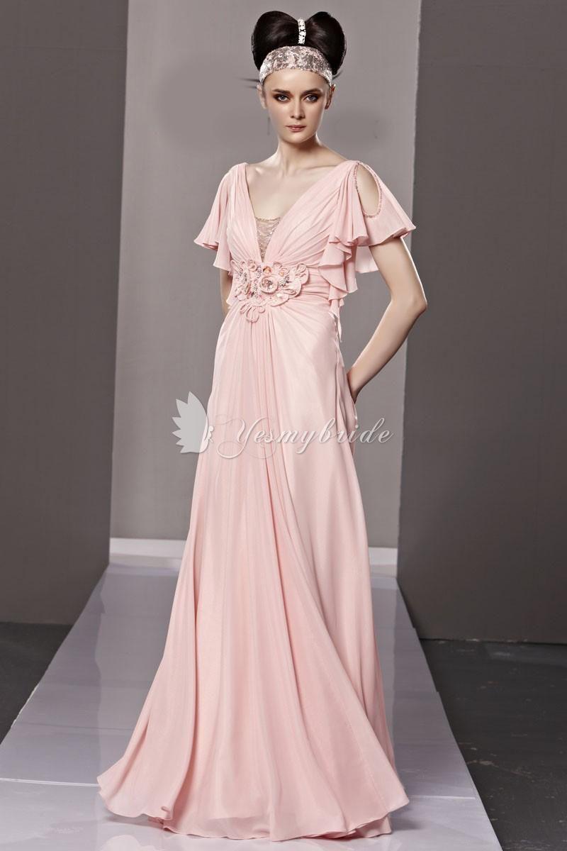 Designer Evening Dresses With Sleeves Designer Pink A Line Long