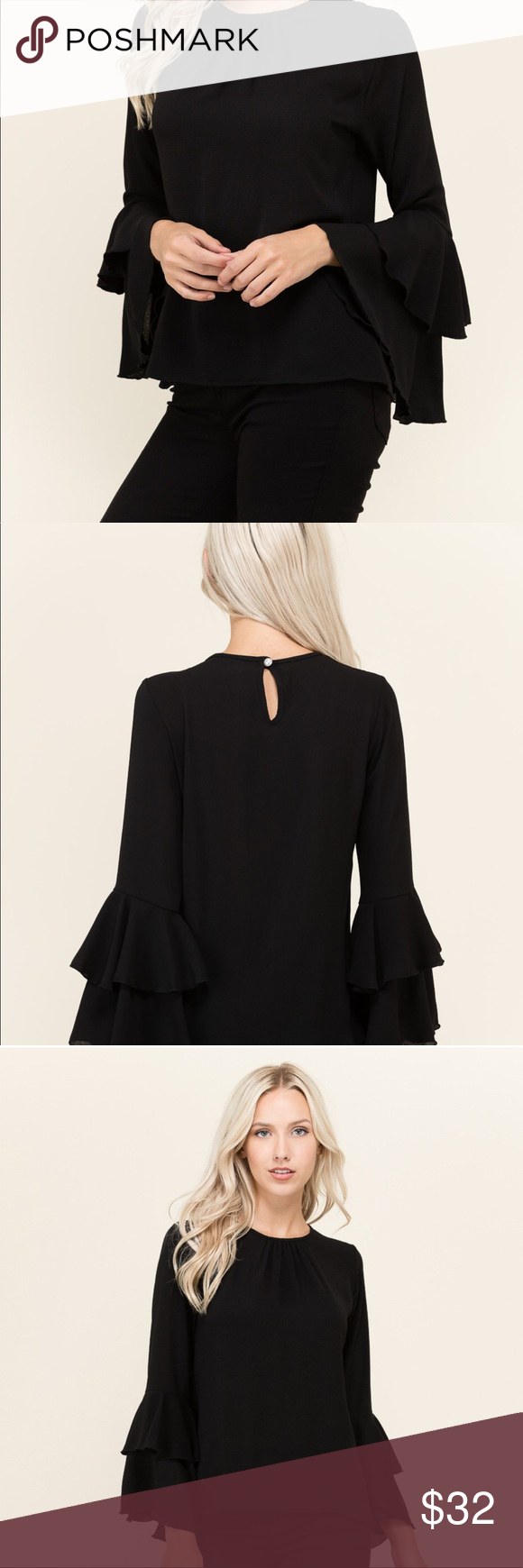 New solid bell sl bk keyhole button top boutique in my posh