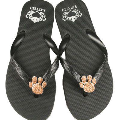 a6e20da0f6846 Katydid Rubber Flip Flops with 1 Pair of Orange Paw Conchos New Katydid  Flip Flops with