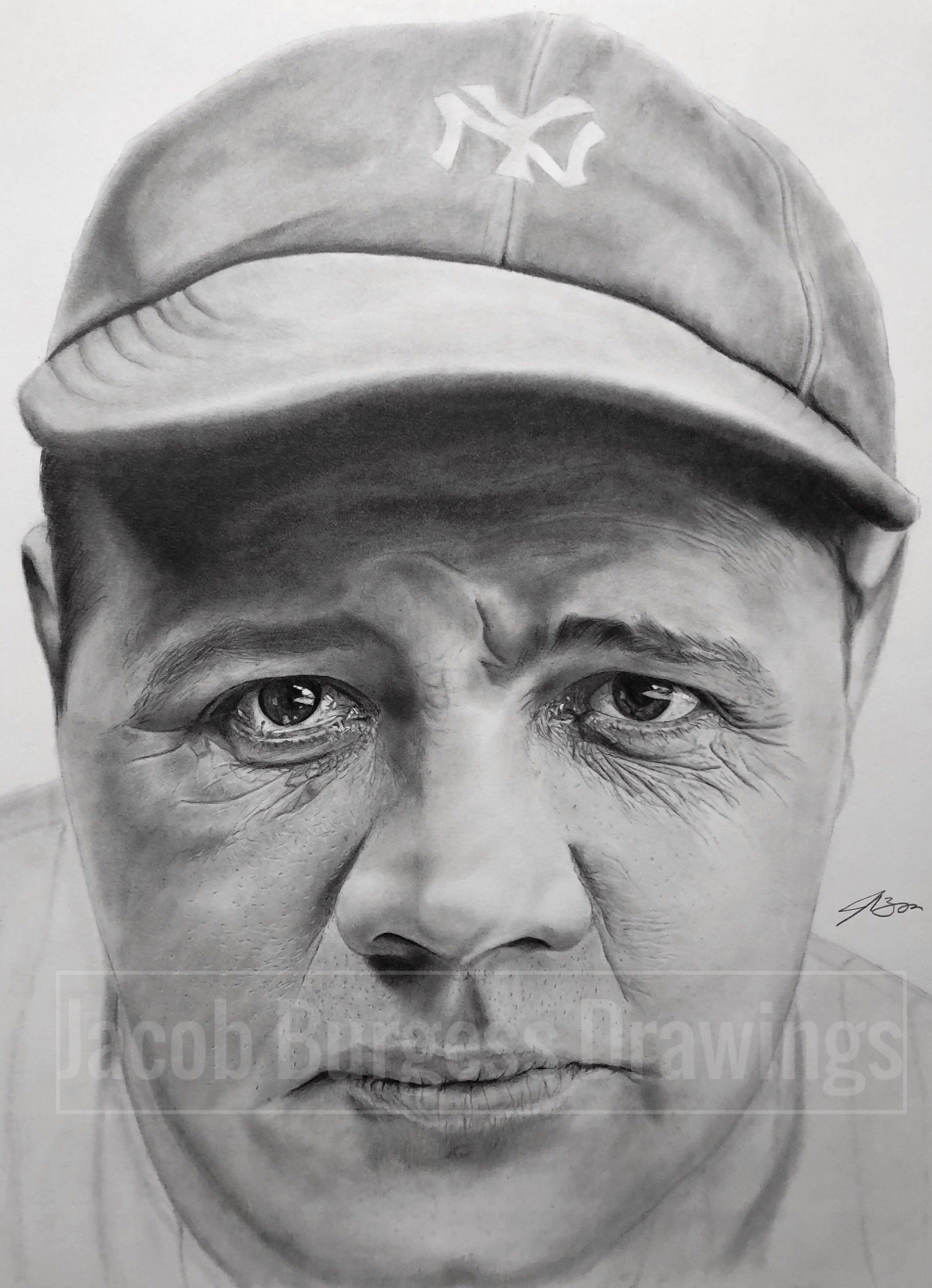 Babe Ruth 11 X14 Pencil Drawing Yankees Babe Ruth Pencil Drawings Drawings
