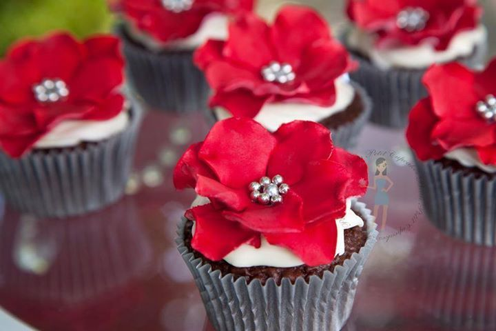 Silver & Red Flower Cupcakes