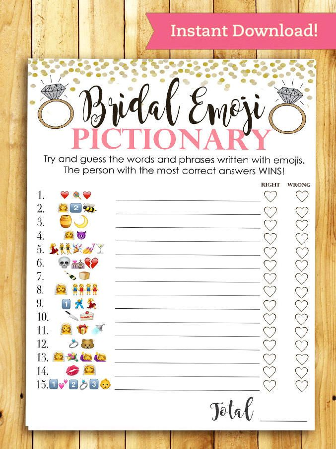 print bridal shower themed emoji pictionary for a contemporary take on the game thatll keep your guests guessing