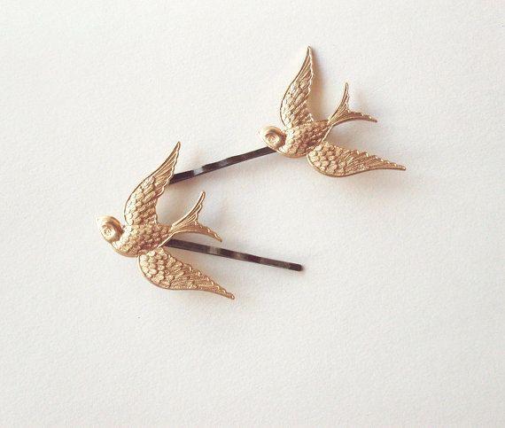 Nature Hair Clip Bridal Hair STARLING Bird Hair Pin Sparrow Hair Pin Gold Hair Clip Gold Brass Hair Clip Sparrow Hair Clip