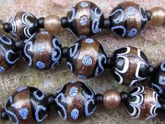 Antique Venetian Aventurine Latticino Glass Fancy Trade Beads Necklace