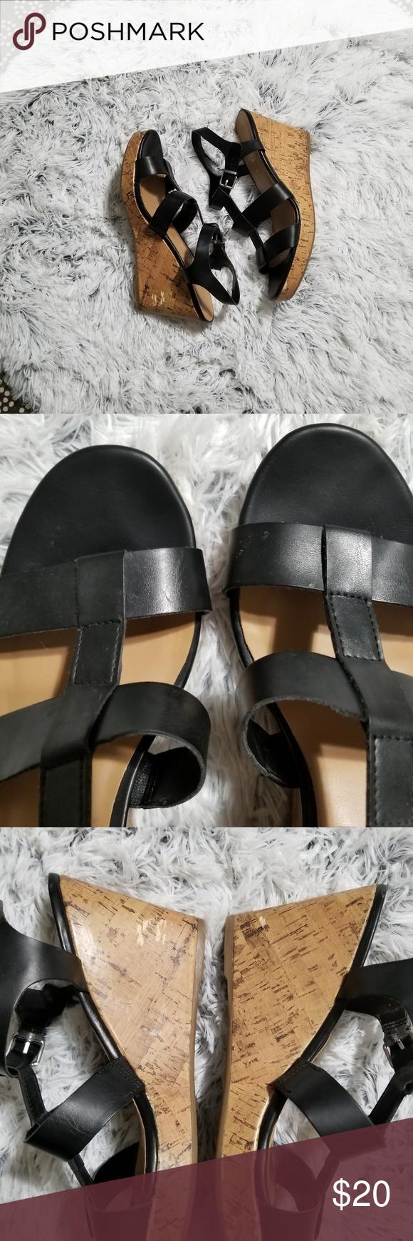 d458593ef45 Franco Sarto Mendoza black wedge sandals size 10M Franco Sarto ...
