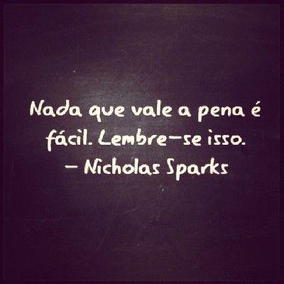 <p></p><p>Nada que vale a pena é fácil. Lembre-se disso. (Nicholas Sparks)</p>