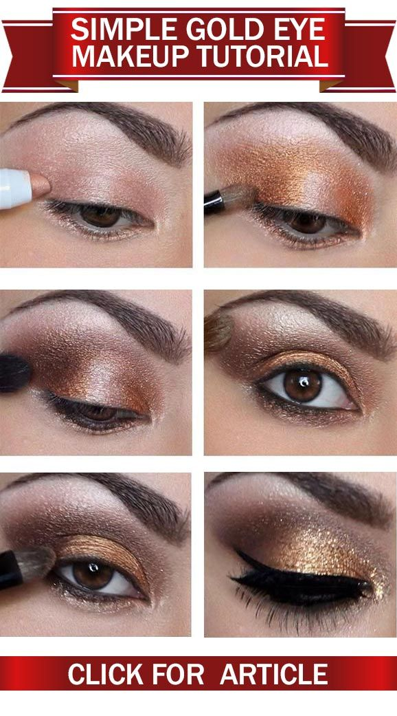 How To Apply Simple Gold Eye Makeup? Tutorial with