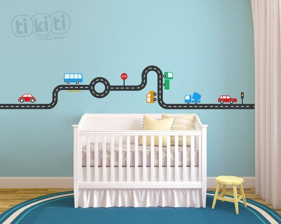 Fire Trucks Car Track Wall Decal For Your Baby Boy Room Kids Deco - Wall decals carsracing car wall decal ideas for the kids pinterest wall