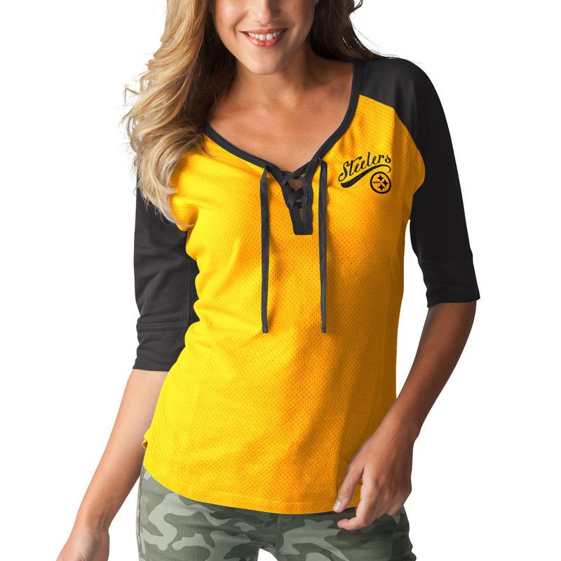 5be6b8fe5 Pittsburgh Steelers Touch by Alyssa Milano Women s Perfect Game Lace Up  3 4-Sleeve Raglan T-Shirt - Gold Black