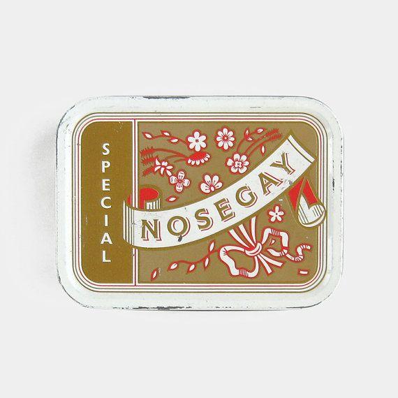 Vintage Nosegay Special Tobacco Tin - bright red gold white smoking cigarette pipe tobacciana metal box man cave pub 1950s 1960s 1970s