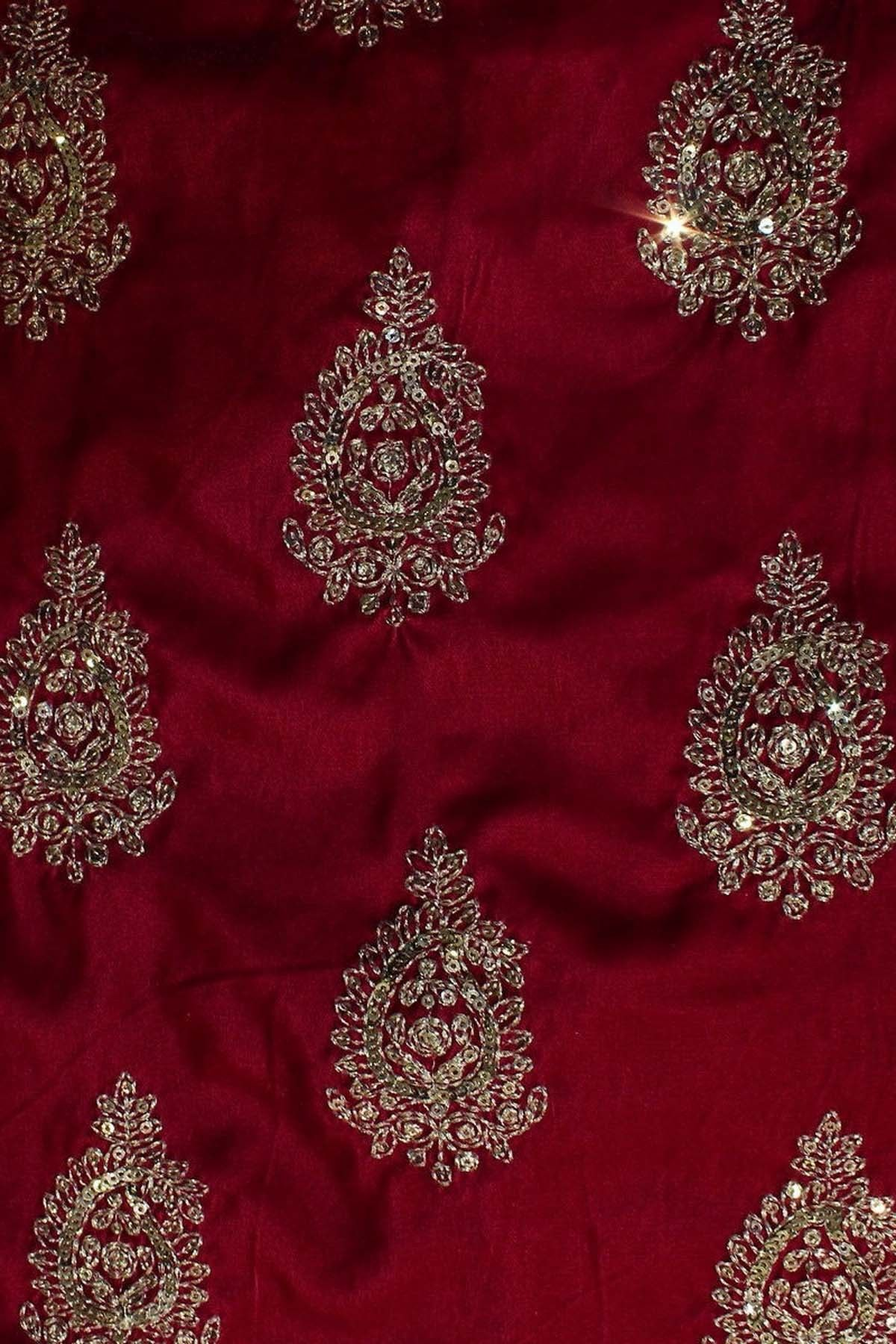 Royal pink velvet fabric material with sequins work