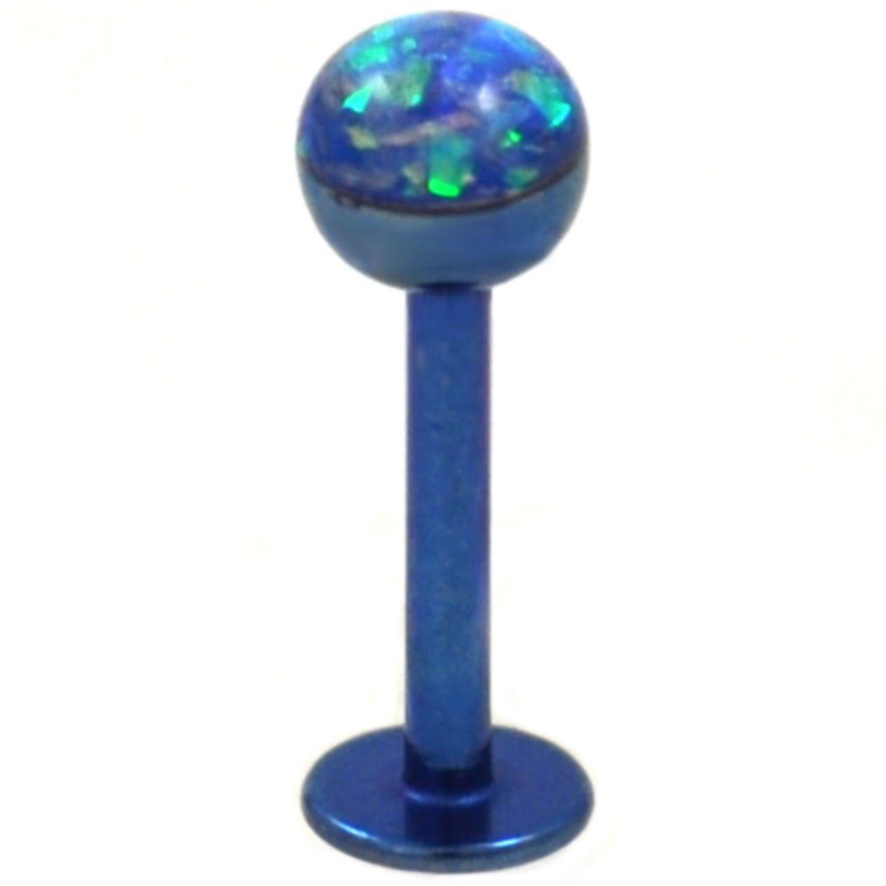 Under nose above lip piercing  Blue Opalescent Glitter Dome PVD Labret Bar G  Labret Monroe lip