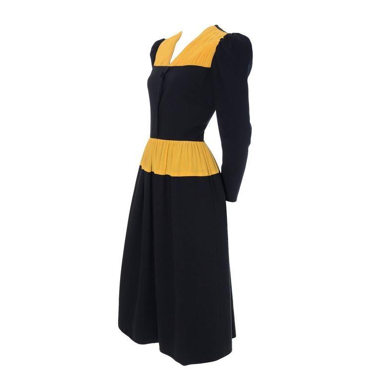 Vintage Carolina Herrera Pleated Wool Crepe Dress Pleated Marigold Silk