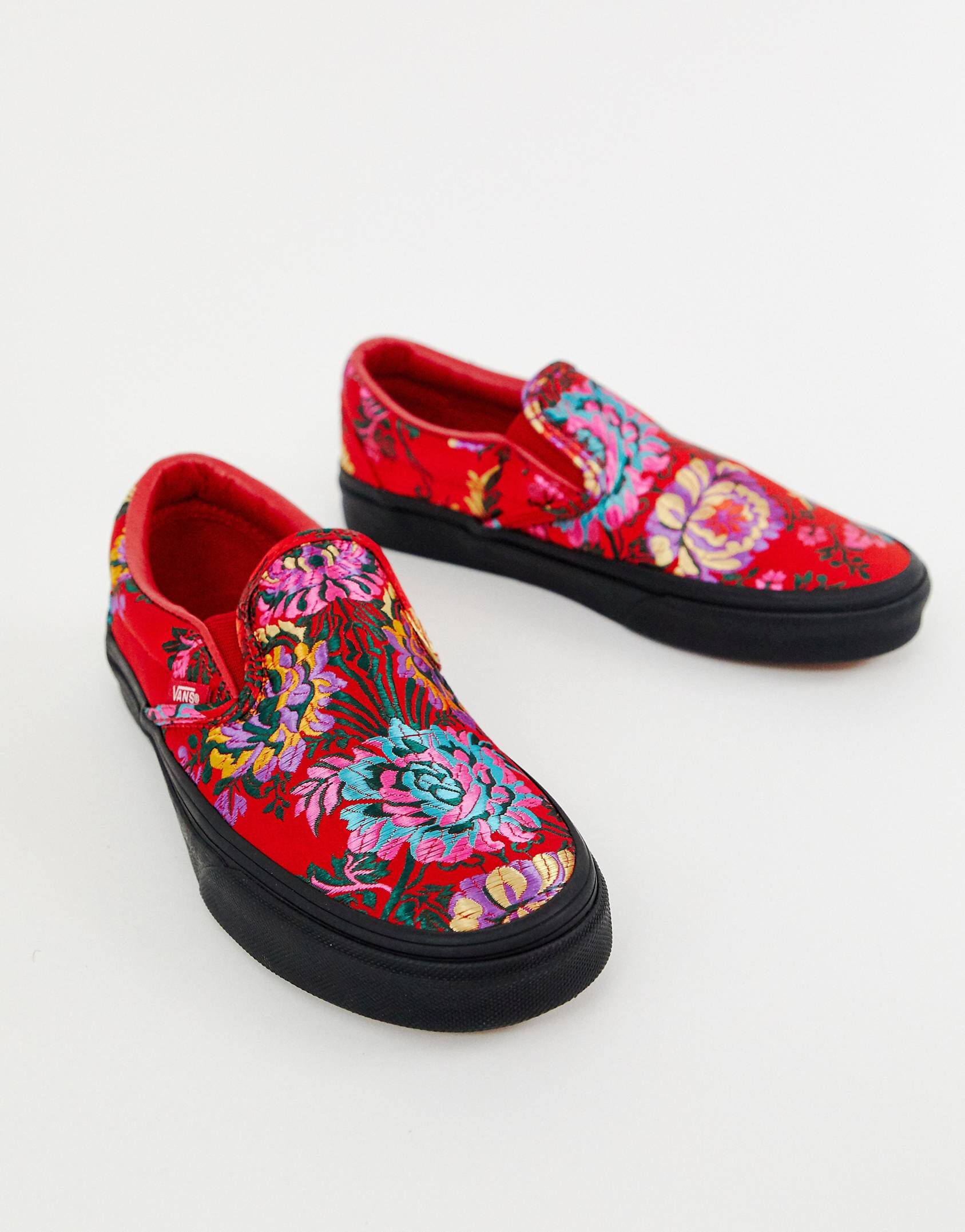 72562619aced Vans Classic Slip-On red floral satin sneakers in 2019