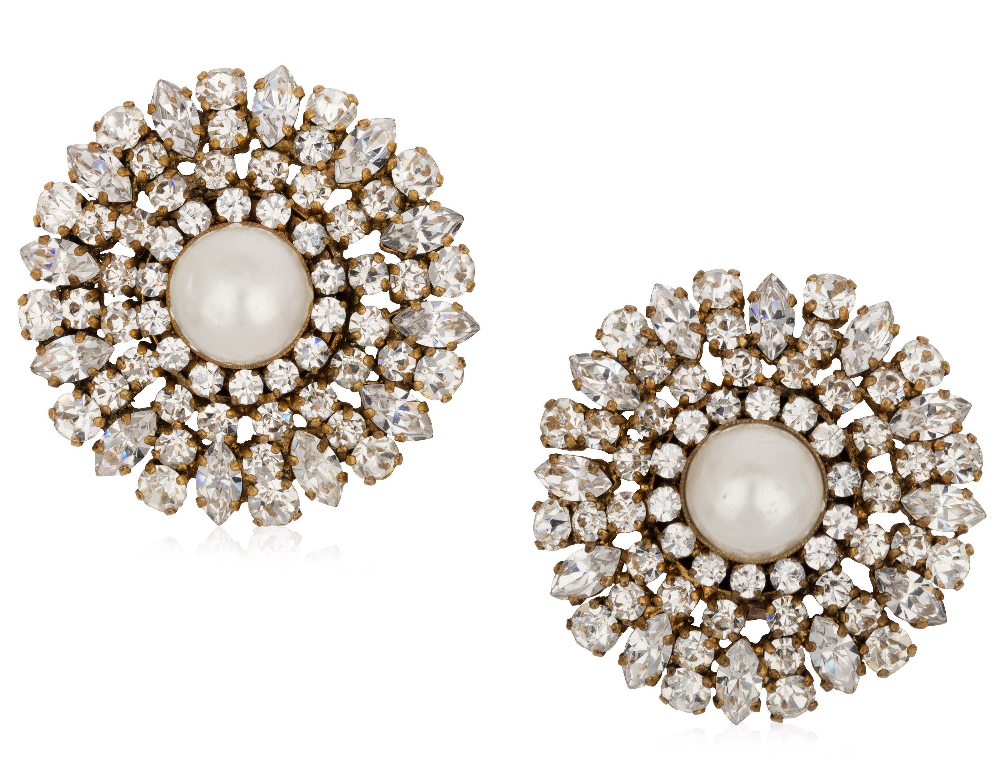 Chanel Faux Pearl And Rhinestone Earrings Vintage Never Die