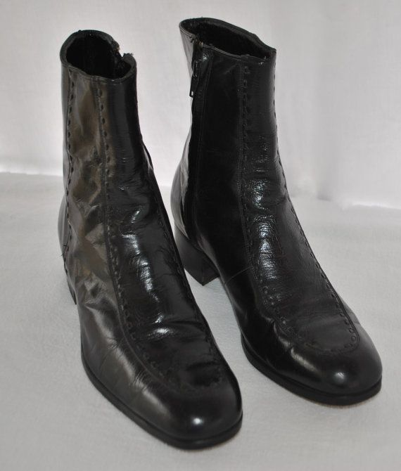 Boots, Black leather, 80s fashion men