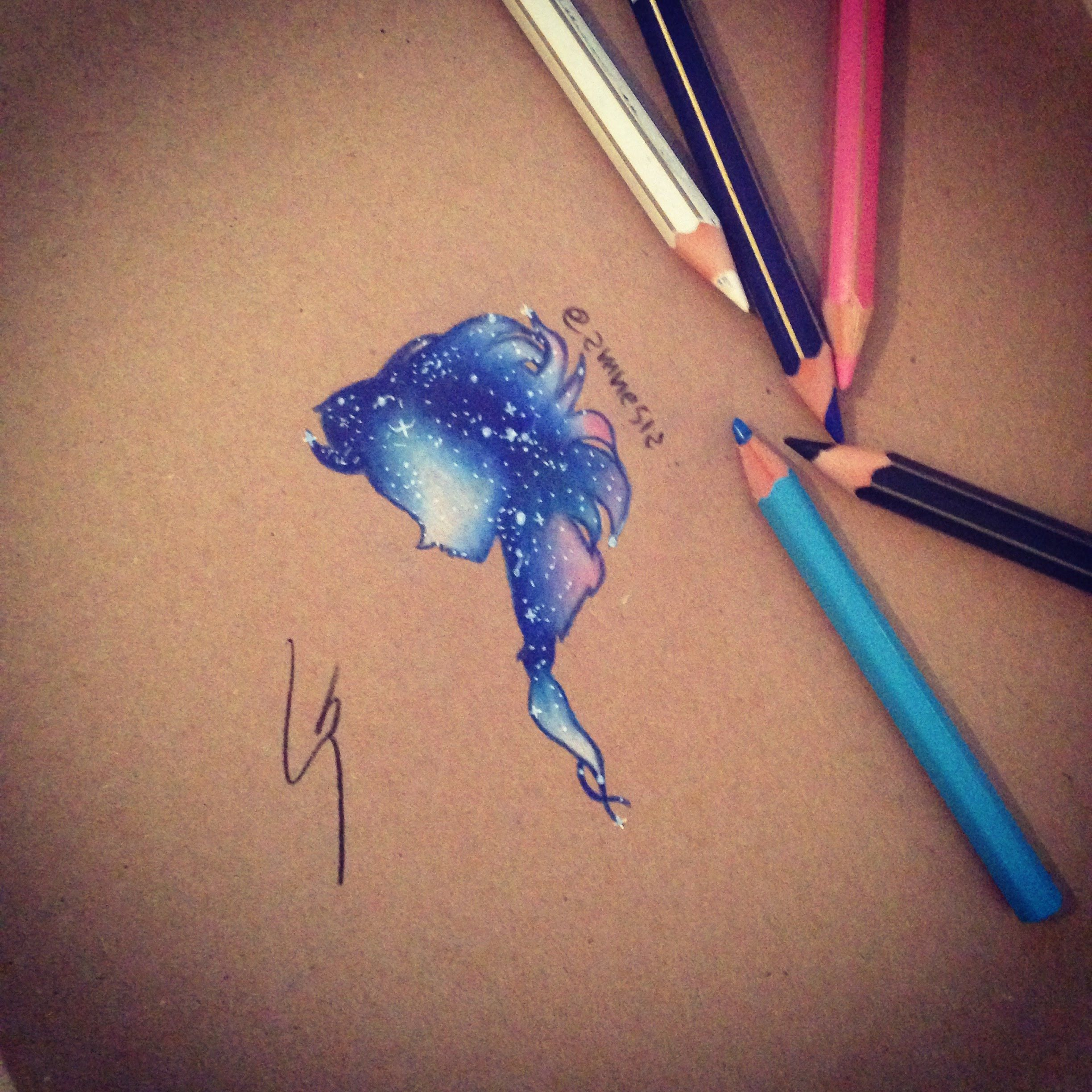 How to draw galaxy elsa with colored pencil by sgalia giuseppe