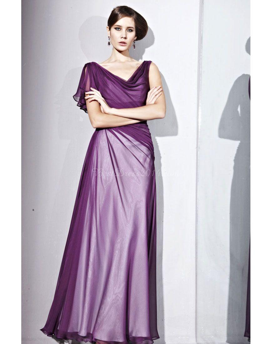 Crystals pleats sleeve ruffles simple long evening dress w