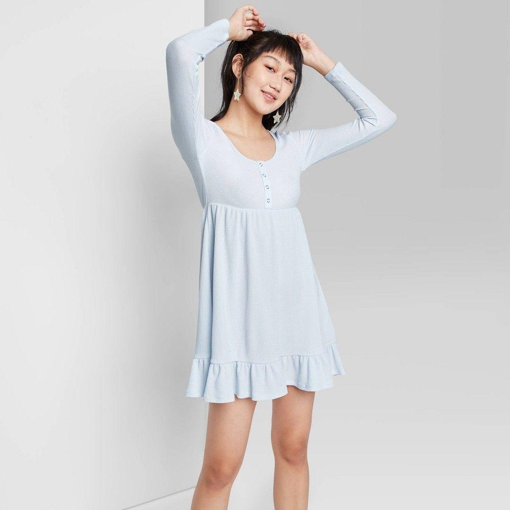Women S Plus Size Long Sleeve Waffle Knit Babydoll Dress Wild Fable Light Blue 4x Blue Long Sleeve Dress Long Sleeve Mini Dress Women Long Sleeve [ 1000 x 1000 Pixel ]
