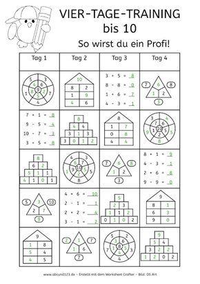 Vier-Tage-Mathe-Training (Zahlenraum bis 10) - | Лепбуки | Pinterest ...