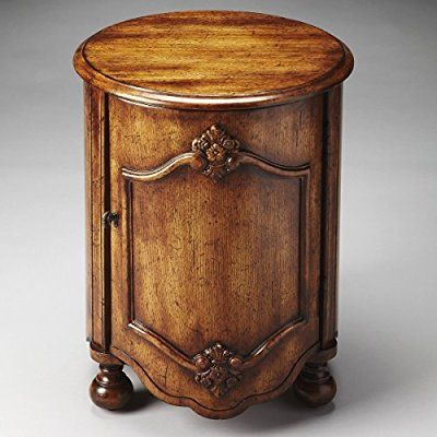 18 in Round Wood Veneers Top Masterpiece Kenwood Drum Table - Dark Toffee