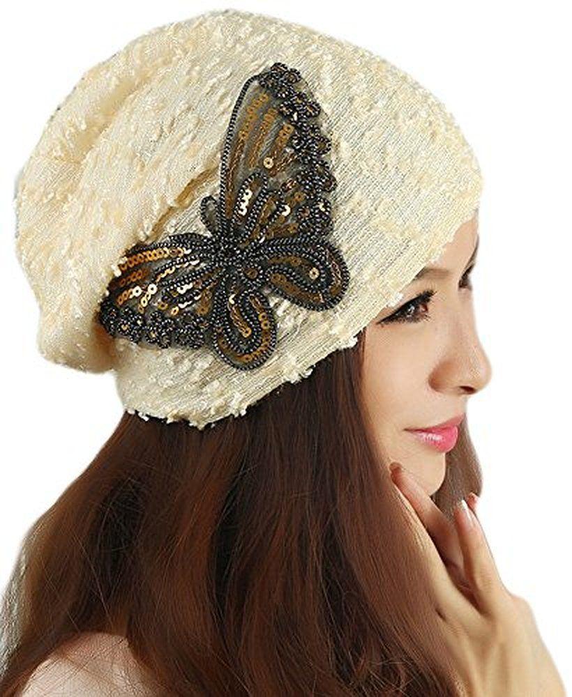 0ae09448e1276 Qunson Womens Lace Sequin Butterfly Beanie Hat Cap Turban