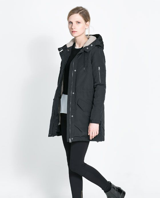 b8e4b46f4e Image 3 of PARKA WITH SHEEPSKIN LINING from Zara | •Coats• | Stylish ...