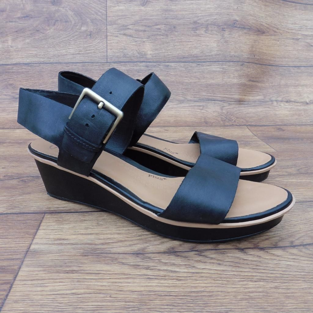 Black sandals ebay uk - Size Uk 6 5 D Clarks Plus Parchment Rose Black Leather Wedge Platform Sandals Ebay