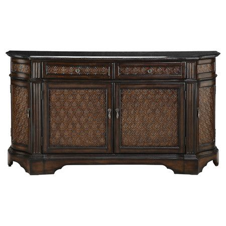 4 Door Granite Top Sideboard With Textured Fleur De Lis Adorned Facings And 2 Top Drawers Product Sideboardconst Furniture Dining Room Paint Large Furniture