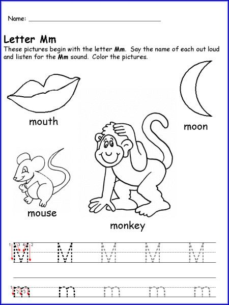 Letter M Worksheet For Kindergarten | Alphabet | Pinterest ...