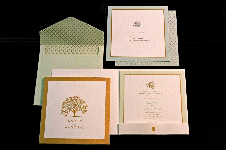Pastel Champa Tree Folder Wedding Invitation By Artsypapergoods