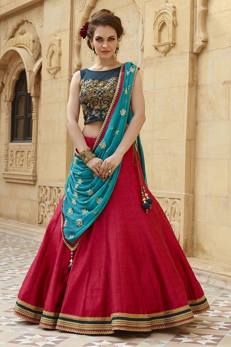 c68843f94e7381 Aishwarya Classy blue and red mauve lehenga choli for navratri ...