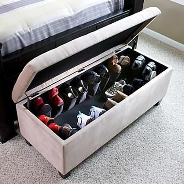Secret Hideaway Shoe Storage In A Chest At The Foot Of The Bed Padded Ottoman Bench Seat That S Right Hide Your Shoe Ottoman Home Organization Storage