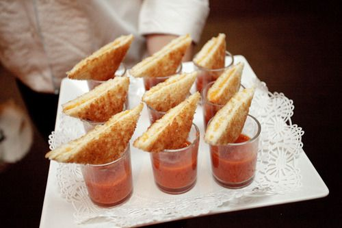 mini grilled cheese sandwiches with shot glasses of tomato soup