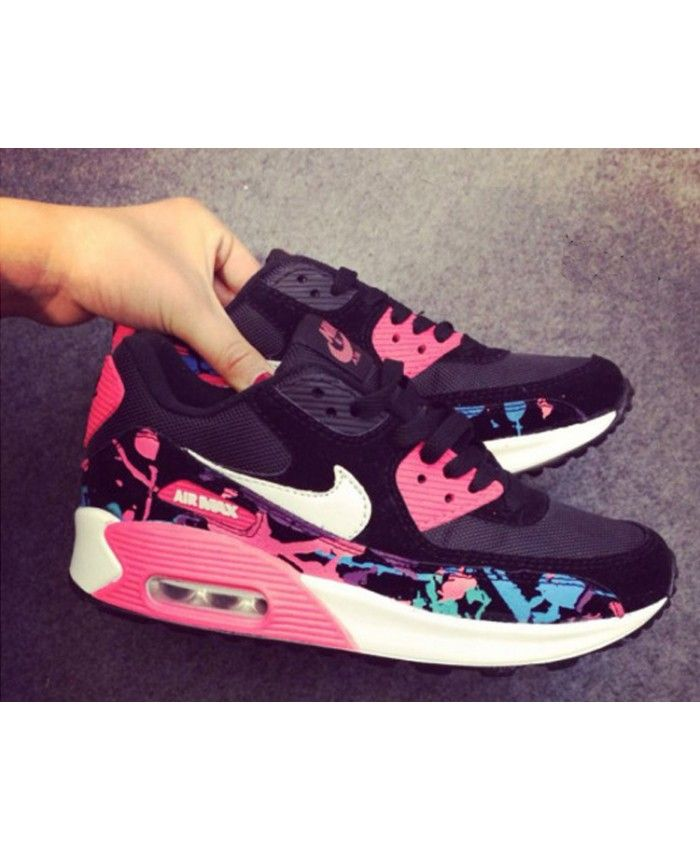 online store e57e5 55a21 Buy Nike Air Max 90 Custom Floral Fuschia Black Womens Trainers Online