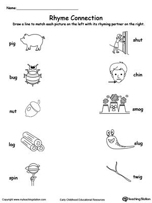 Connect Rhyming Pictures With Words Ending In IG, UG, UT, OG or IN: Help your child identify words that rhyme with this rhyming pictures printable worksheet.	Learning the concept of rhyming words will enhance your child's phonics awareness.